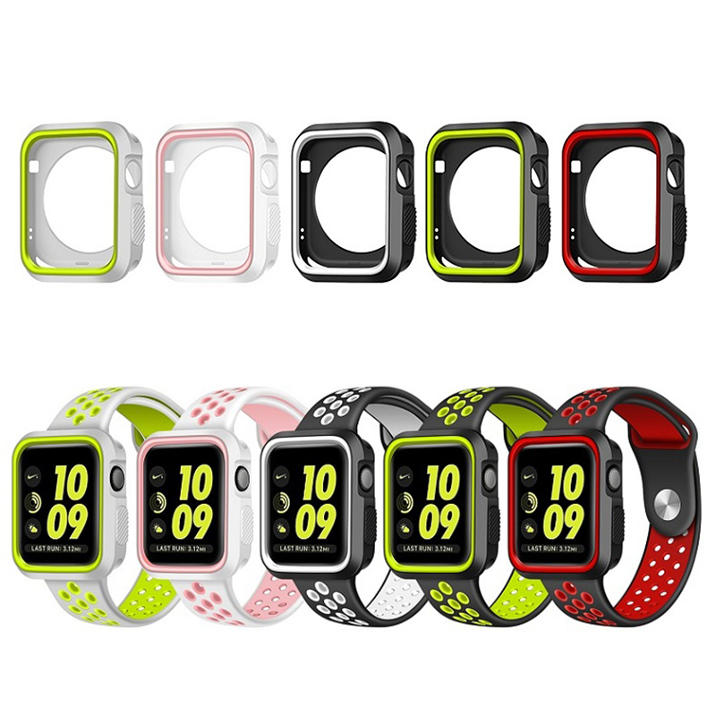 FOHUAS protective case with Silicon Sports Band Colorful wrist Strap for Apple Watch iwatch 38/42mm Bracelet Series 3 2&1