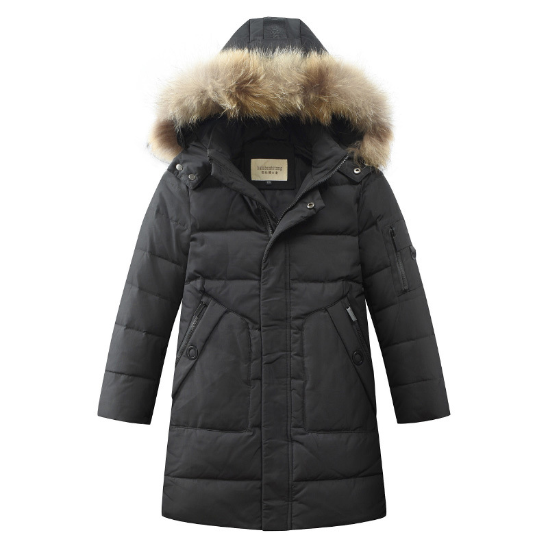 2018 Childrens boys outdoor down jacket long hair large hair collar version new winter childrens hiking coat2018 Childrens boys outdoor down jacket long hair large hair collar version new winter childrens hiking coat