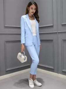 Women Suit Jacket Trousers 2piece-Set Female Casual Long-Sleeved Small New Autumn The
