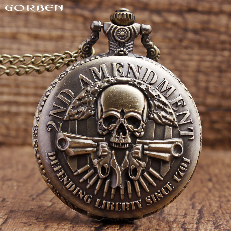 Bronze Vintage Pocket Watch DEFENDING LIBERTY SINCE 1791 2nd AMENDMENT MILITARY Gun Skull Quartz Necklace Watch Mens Women Gifts