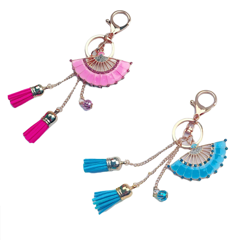 Metal Gold Color Hand Fan Keychain Leather Tassel Alloy Key Holder Bag Pendant Jewelry Creative Gift Crystal Fan Key Ring
