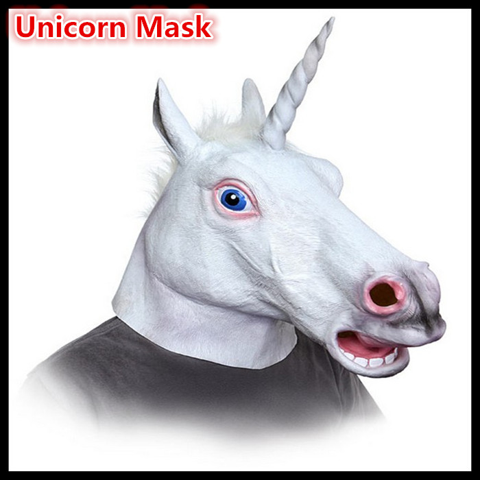 Us 16 99 Free Shipping Creepy Horse Head Mask Halloween Mask White Unicorn Dance Fashion Latex Rubber Face Full Head Masks In Party Masks From Home