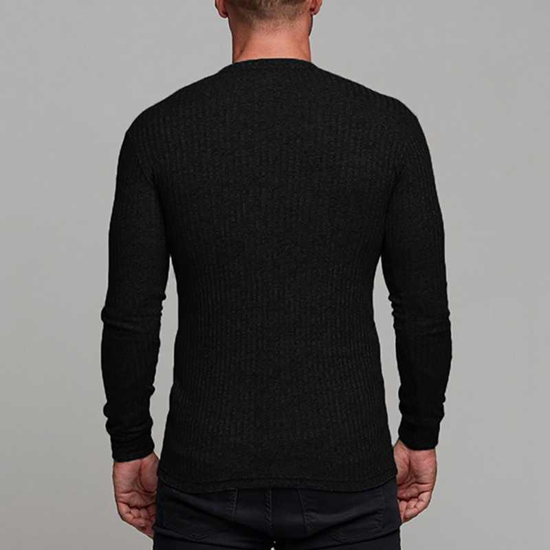 CYSINCOS 2019 Male Causal Solid Color Male Sweater Slim Long Sleeve Men Pullovers Cotton Tight Knitting Tops Male Knitwear New