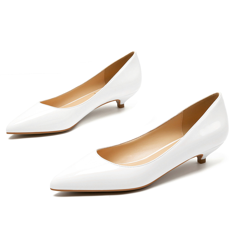 Genuine Leather Pumps Women Low Heels White Color Pointed Toe Shallow Work Shoes Pointed Toe Office Dress Shoes Mules E0007Genuine Leather Pumps Women Low Heels White Color Pointed Toe Shallow Work Shoes Pointed Toe Office Dress Shoes Mules E0007