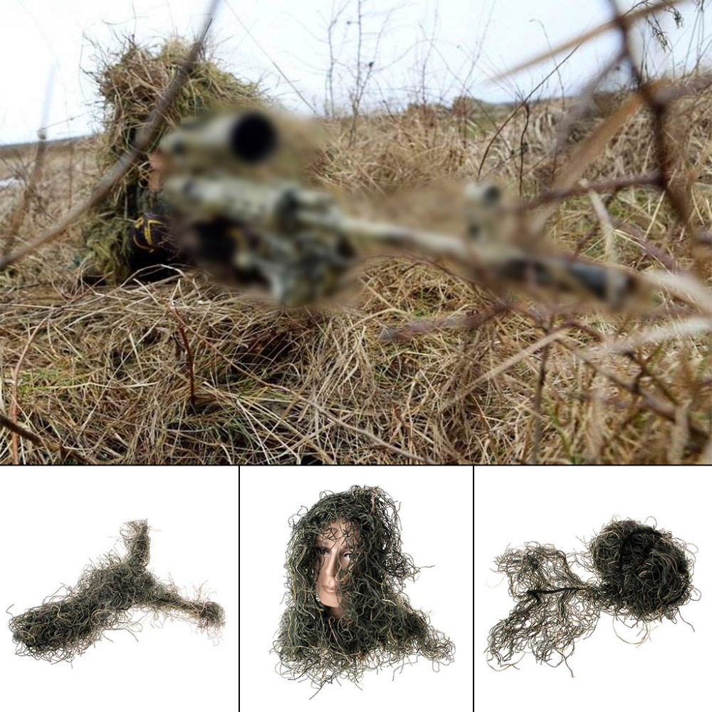Hunting Rifle Wrap Rope Grass Type Ghillie Suits Gun Cover For Camouflage Yowie Sniper Paintball Hunting Clothing
