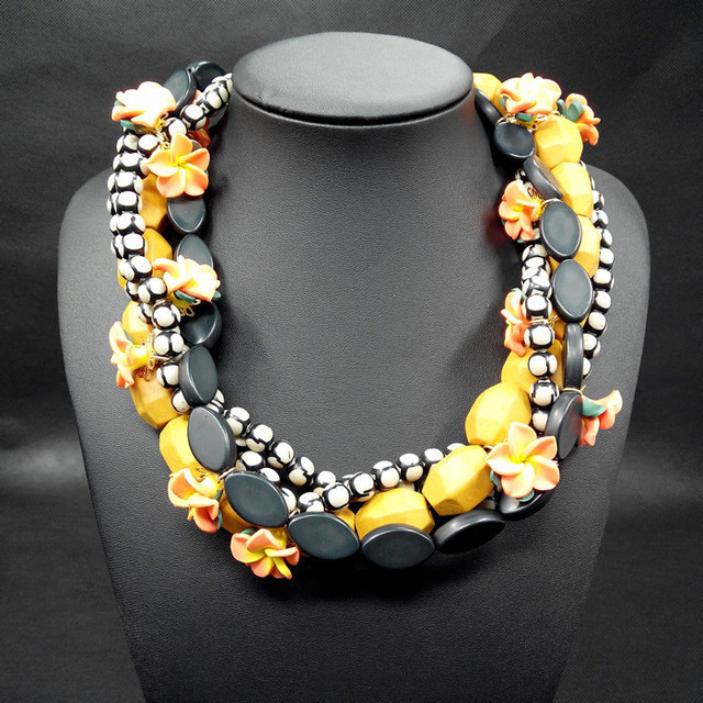 Bohimia flower choker necklaces & pendants statement beads flower chunky necklace women fashion jewelry black stone ZA necklace