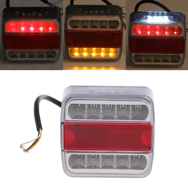 QILEJVS DC 12V 14 LED Truck Car Trailer Boat Caravan Rear Tail Light Stop Lamp Taillight eonstime 2pcs 12v 16 led red white truck trailer boat stop turn tail light reverse light lamp waterproof