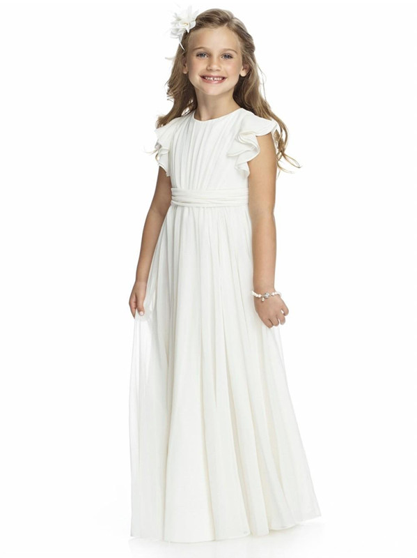 White/Ivory Chiffon Floor Length Flower Girls Dresses A Line Custom First Communion Gowns Free ShippingWhite/Ivory Chiffon Floor Length Flower Girls Dresses A Line Custom First Communion Gowns Free Shipping