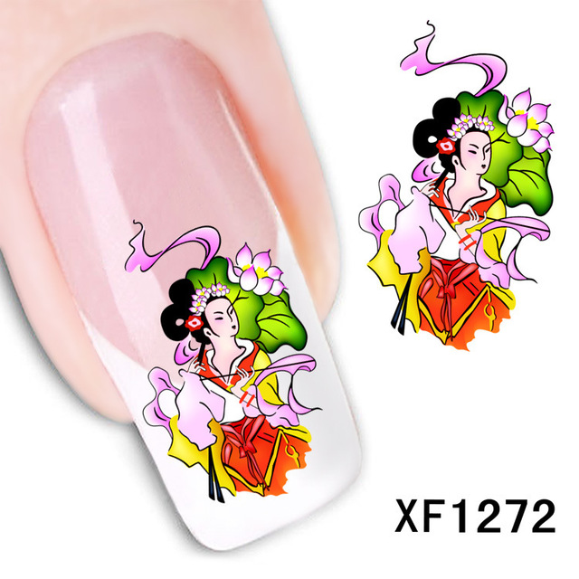 2017 Sale New Arrival Nails Xf Manicure Sticker Nail Paibi Flower Cute Beard Watermark Stickers Manufacturers Xf1272