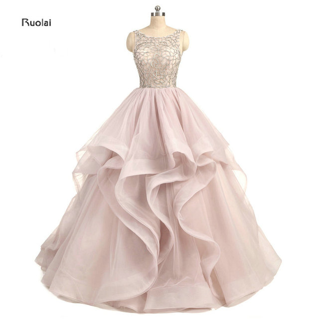 2017 New Arrival Stunning Blush Pink Organza Ball Gown Evening Dresses Scoop Crystal Ruffles Evening Gown Open Back Custom Made