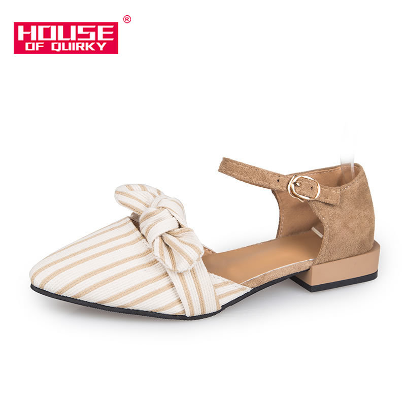 Spring New Fashion High Heels Pointed Root Women Shoes Shallow Mouth Leisure Shoes With Beautiful Bowknot One Word Buckle Belt