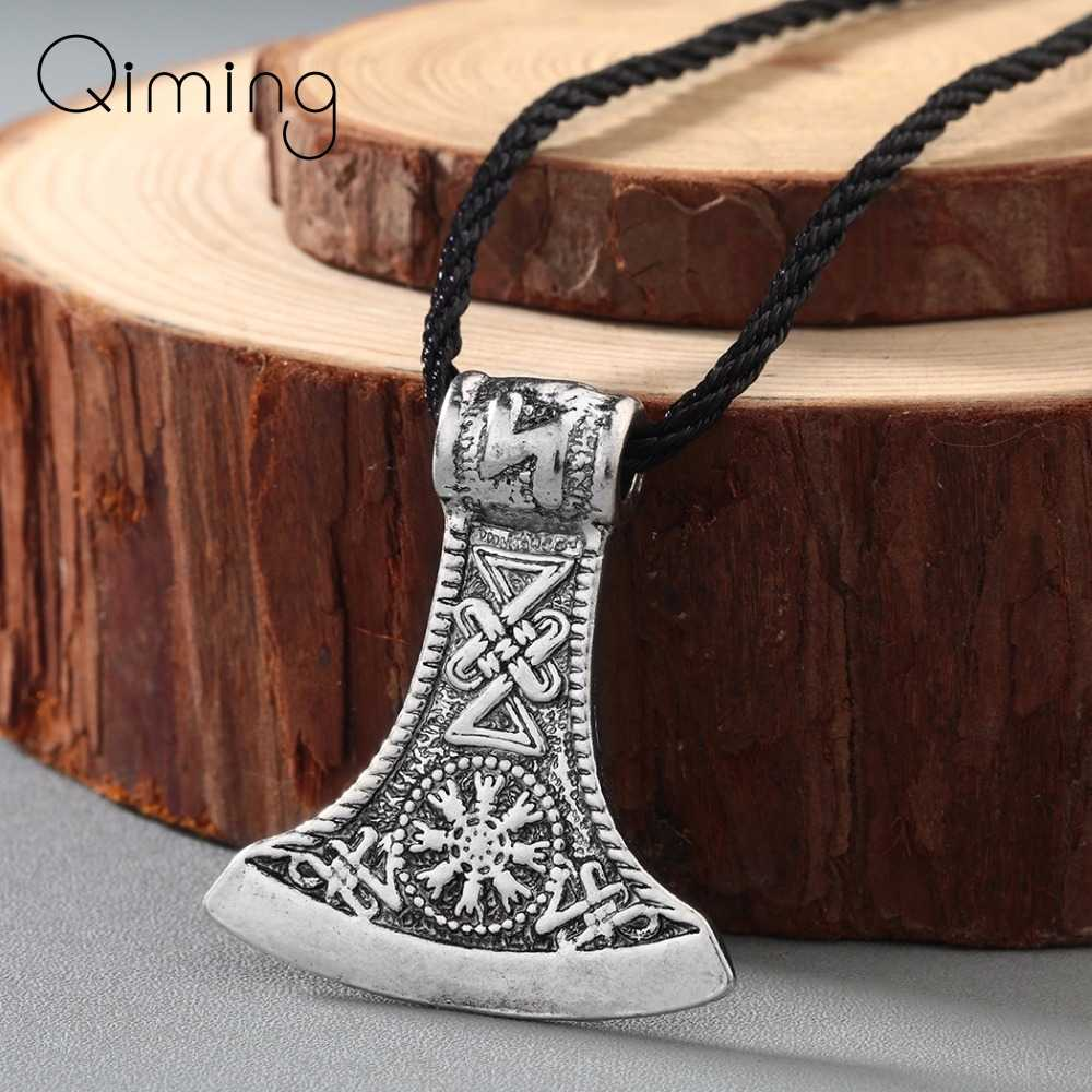 Punk mężczyzn słowiański Perun topór naszyjnik Antique srebrny Amulet Kolovrat Symbol Pagan biżuteria amulety i talizman wisiorki dla obu płci prezent