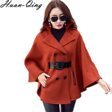 New 2017 Autumn Winter Runway Women Vintage Double Breasted Belt Cloak Jacket Coats Batwing Sleeve Woolen Cape Outerwear Abrigos(China)