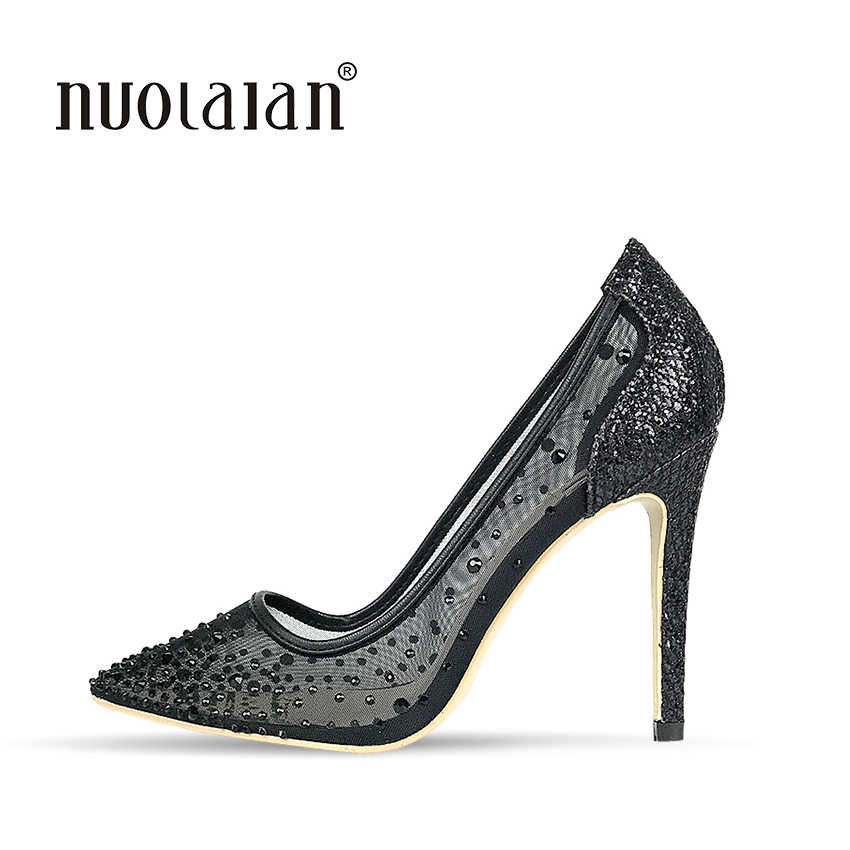 New Brand 2018 Crystal Women Pumps Sexy High Heels Shoes for Women Fashion Luxury Wedding Party Shoes Woman sapato feminino