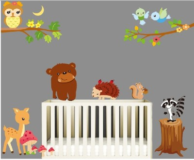 DIY Cartoon Animal Friends Kids Room Decoration Vinyl Wall Sticker Owl on the Tree Birds Home Decal Nursery Wall Decor Wall Art