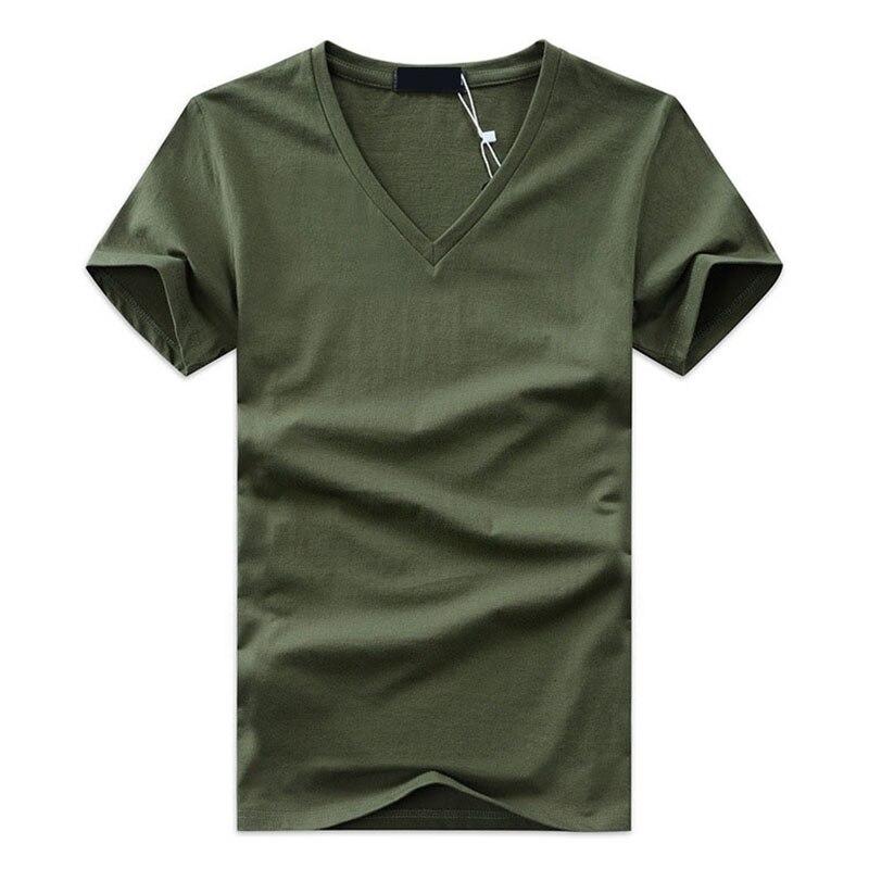 Detalle Comentarios Preguntas sobre 2018 de alta calidad de moda verano hombres  V cuello Camiseta de manga corta de algodón tops hombres ocasionales ... e28426ea21250