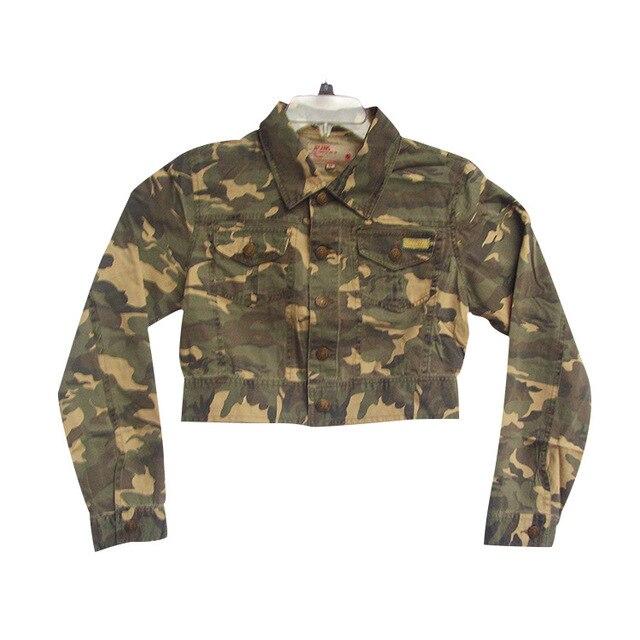 Бренд женщин Камуфляж Куртка Осень Обрезанные Пальто Тонкий Vintage Пиджаки Женщины Армия Пальто