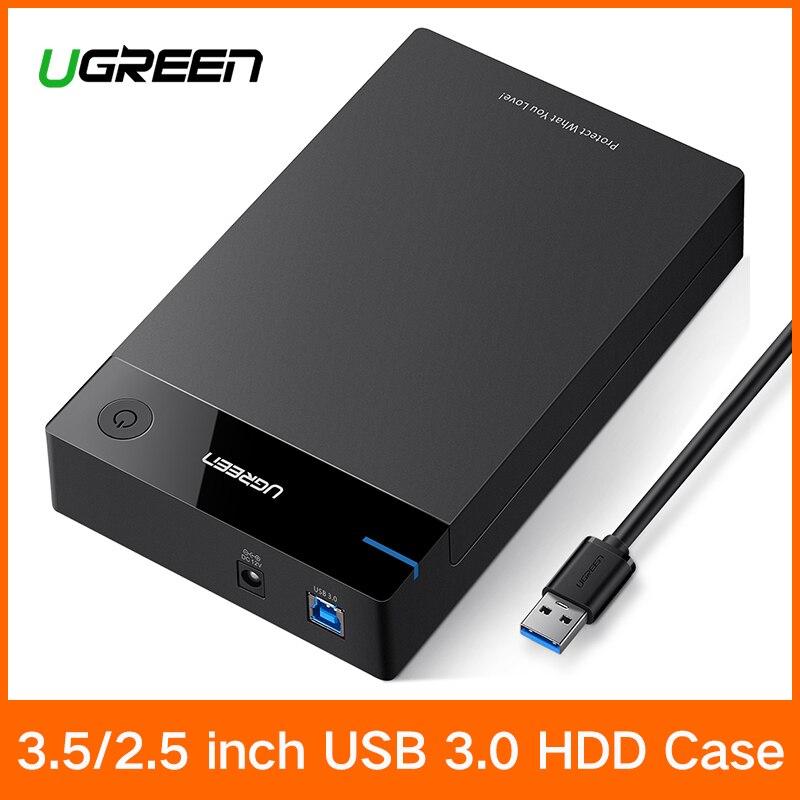 Ugreen 3,5 pulgadas HDD SSD SATA a USB 3,0 para el disco duro caja 1 TB 2 TB 2,5 HDD recinto de almacenamiento externo