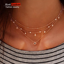Gold color Choker Necklace for women Short crystal stars Pendant Chain Necklaces & Pendants Laces velvet chokers Fashion Jewelry(China)