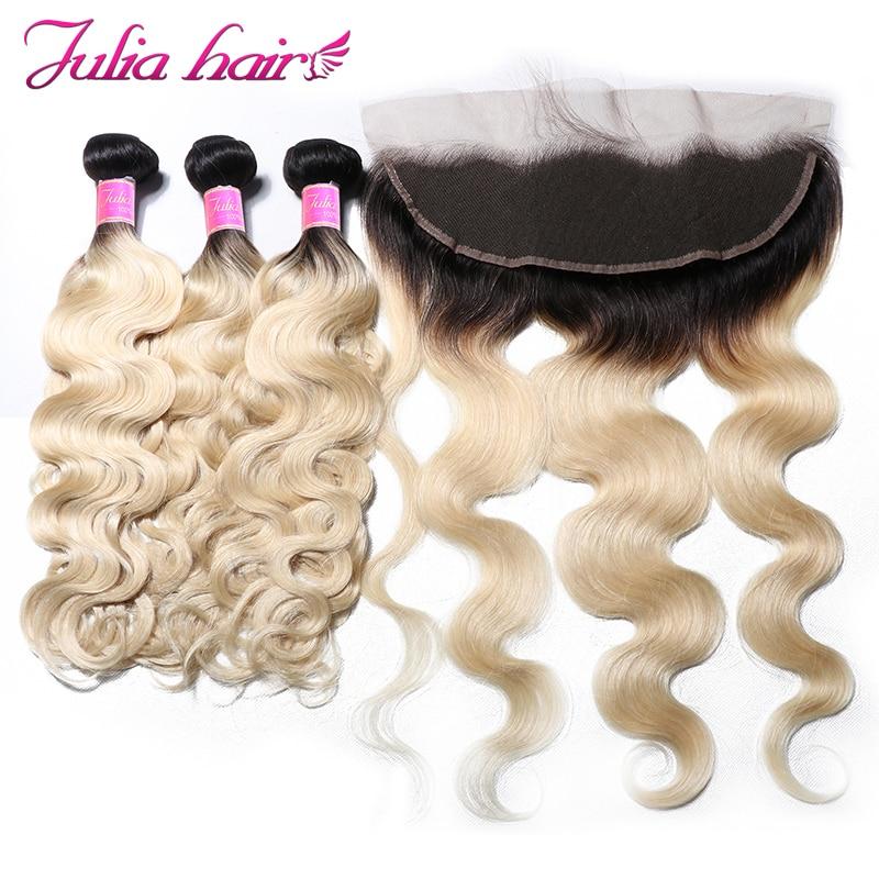 Ali Julia Hair Ombre Blonde T1B 613 Color Bundles With Frontal Brazilian Body Wave Bundles With
