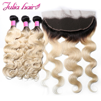 Ali Julia Hair Ombre Blonde #T1B/613 Color Bundles With Frontal Brazilian Body Wave Bundles With Lace Frontal 13*4 Remy Hair