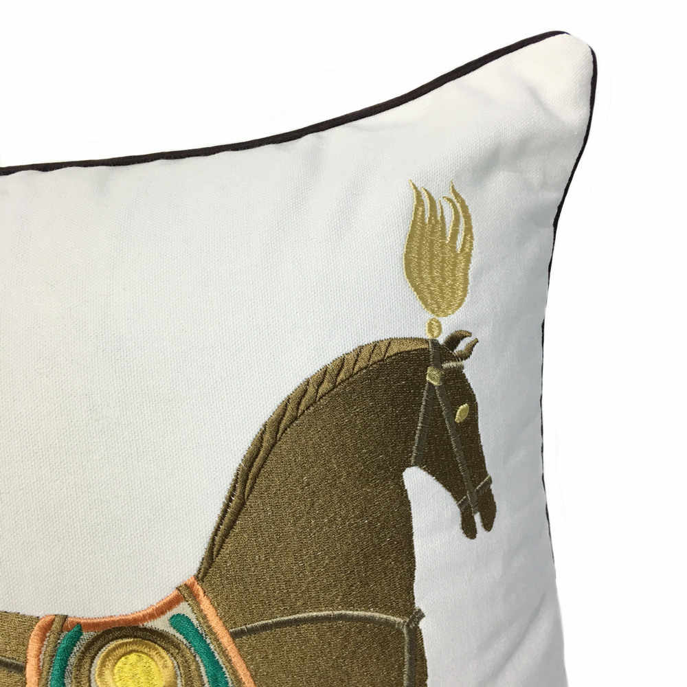 Horse design embroidered on pillow case white standard size