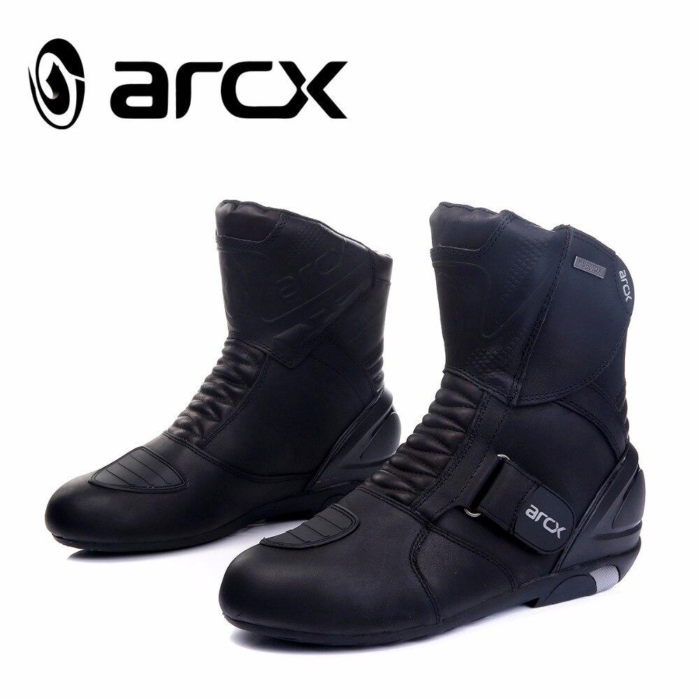 Новый ARCX мотоцикл водонепроницаемый ботинки высокое качество хорошая кожаная обувь мотоцикл мотокросс загрузки черный цвет 39 40 41 42 43 44 45