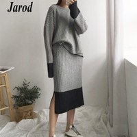 2018 Spring 2 Pieces Set Knitted Sweater Skirt Suits Elastic Waist Skirts Tracksuit Warm Pullovers Femme Outfits Mujer