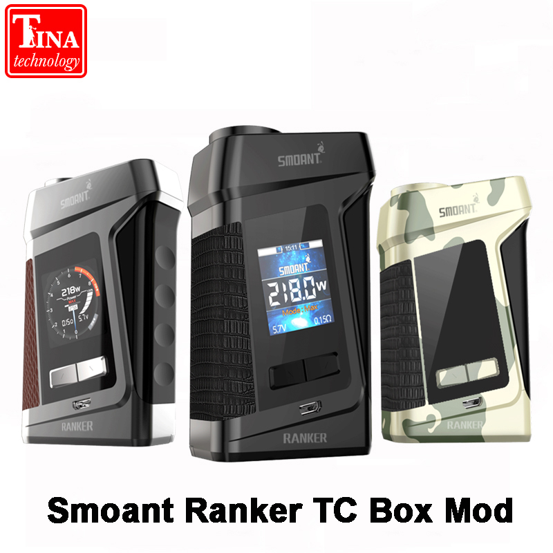 Smoant Ranker 218W TC Box Mod 1.3-inch TFT Color Display e-cig No 18650 Battery Mod Electronic Cigarette Mod Box