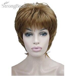 Image 1 - Forte di Bellezza Femminile Parrucche Sintetiche Breve Onda Del Corpo Bionda Argento Marrone Parrucca Per Le Donne Nere