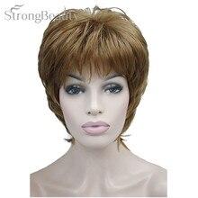 Pelucas femeninas de belleza fuerte, cabello corto sintético, ondulado, Rubio, plateado, marrón, para mujeres negras