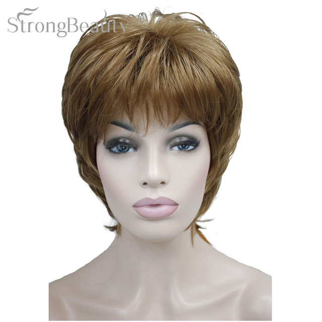 Strong Beauty Female Wigs Synthetic Short Body Wave Blonde Silver Brown Wig For Black Women