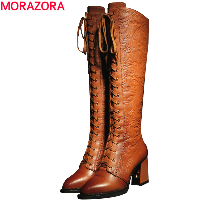 MORAZORA Women Boots 2018 new high quality pu + genuine leather boots thick high heels winter knee high boots winter shoes цены онлайн