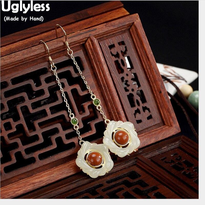 Uglyless 100% Real 925 Sterling Silver Handmade Egg Flower Earrings for Women Natural Jade Plum Blossom Fine Jewelry Agate Balls