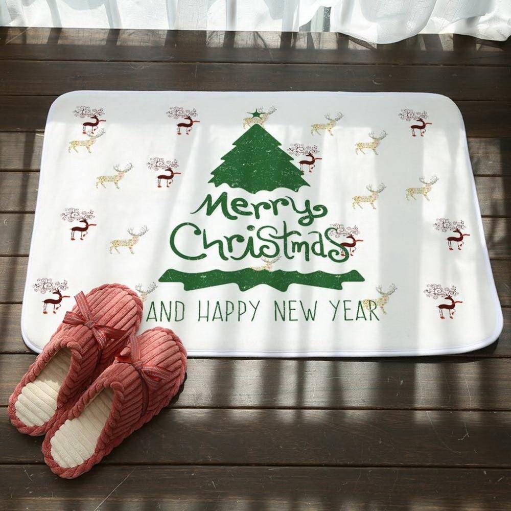 Home Textile Home & Garden Merry Christmas Printing Mats Soft Feet Cartoon Santa Elk Bathroom Floor Mat Pad Shower Rugs Non-slip Carpet Pad Home Decors