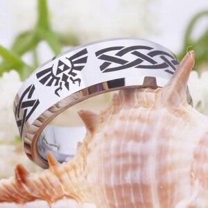 Image 4 - Ring Wemen männer Klassische Jäten Ring Für Männer 8MM Legende von Zelda & Wolf Silber Bevel Mode Wolfram engagement Silber Ring