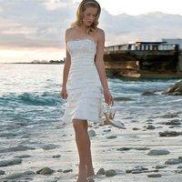 2017 Summer Beach Cheap Short White Ivory Chiffon Casual Beach Wedding Dresses Strapless Lace Bridal Gown