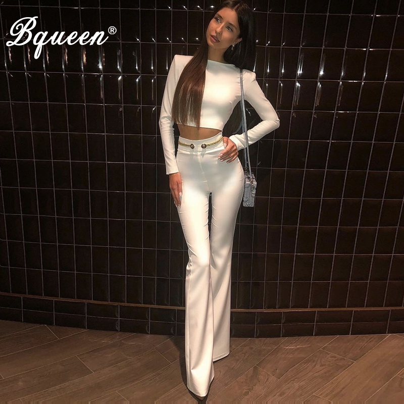 Bqueen Women Sexy O Neck Solid Sets Tops Pant 2 Two Pieces Full Length Pants 2019