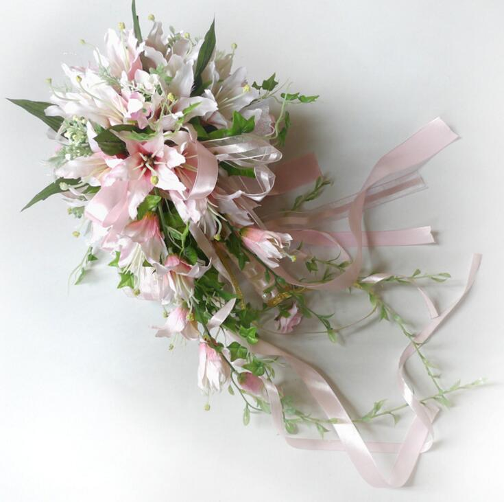 3760cba7aeb White Waterfall Lily Bridal Bouquest Royal Wedding Bouquet For Brides  Flower Drop Shaped Bridal Artificial Holding Flowers -in Artificial   Dried  Flowers ...