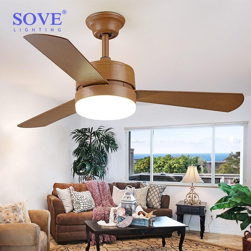 52 Zoll Retro Brown LED Deckenventilatoren Mit Lichter Schlafzimmer Wohnzimmer Esszimmer Deckenleuchte Fan Lampe Fernbedienung 220
