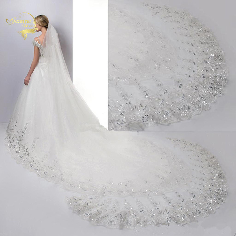 Voile 400cm Long Cathedral Wedding Veils 4 Meters With Lace Appliques Crystals Rhinestone BlingBling Elegant Bridal Veils