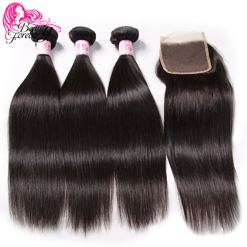Beauty Forever Straight Brazilian Hair 3 Bundles With Closure Free Part 100 Remy Human Hair Closure