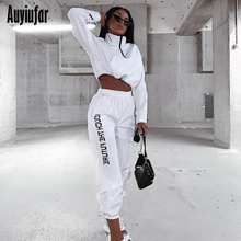 Auyiufar Casual Fashion Zipper Matching Sets Sporty Active Wear Workout 2 Piece Outfits Autumn Long Sleeve Top And Pants Set New