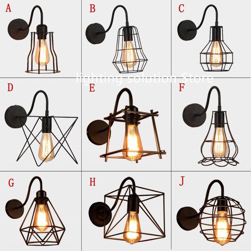 Винтажная железная клетка, настенная лампа, Ретро стиль, лофт, прихожая, лестница, освещение для спальни, ванной, настенные бра, аппликация, м