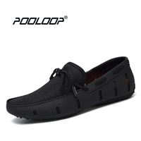 POOLOOP Durable Mens Lace Loafers SWIMs Casual Beach Shoes Breathable Driving Shoes For Men Penny Loafers