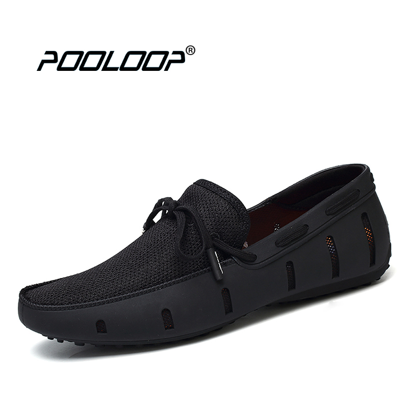 POOLOOP Durable Hommes Dentelle Mocassins Nage Casual Plage Chaussures Respirant Conduite Chaussures Pour Hommes Penny Mocassins Maille Confortable Chaussures