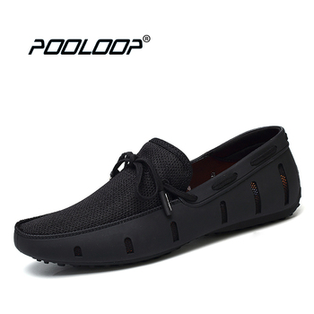 POOLOOP Durable Mens Lace Loafers SWIMs Casual Beach Shoes Breathable Driving Shoes For Men Penny Loafers Mesh Comfortable Shoes online shopping in pakistan with free home delivery
