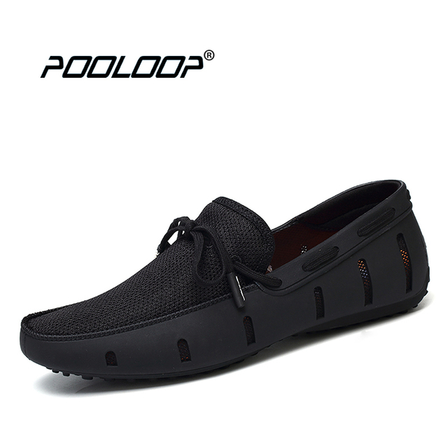 10aba7a4bda POOLOOP Durable Mens Lace Loafers SWIMs Casual Beach Shoes Breathable  Driving Shoes For Men Penny Loafers Mesh Comfortable Shoes