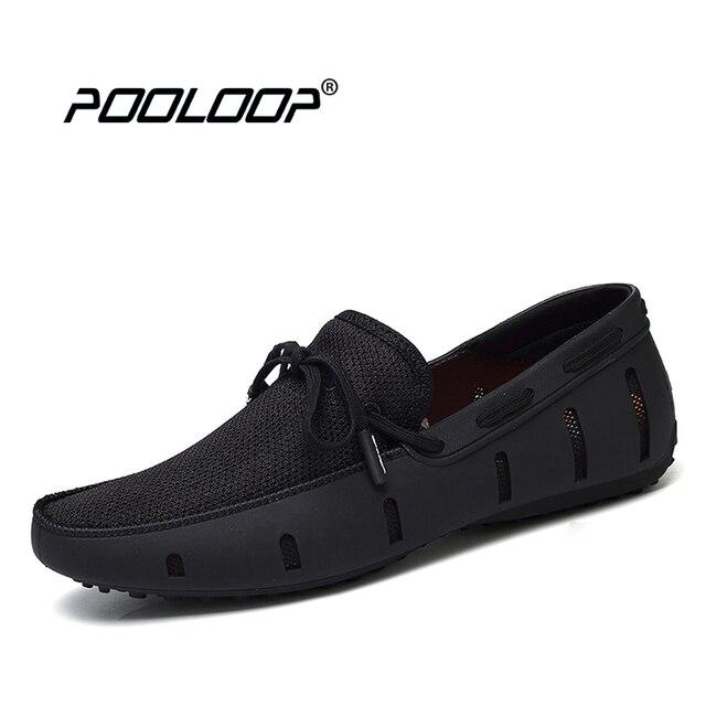 Pooloop durable mens Encaje Mocasines nada playa Zapatos conducción transpirable Zapatos para los hombres Penny Mocasines malla cómoda Zapatos