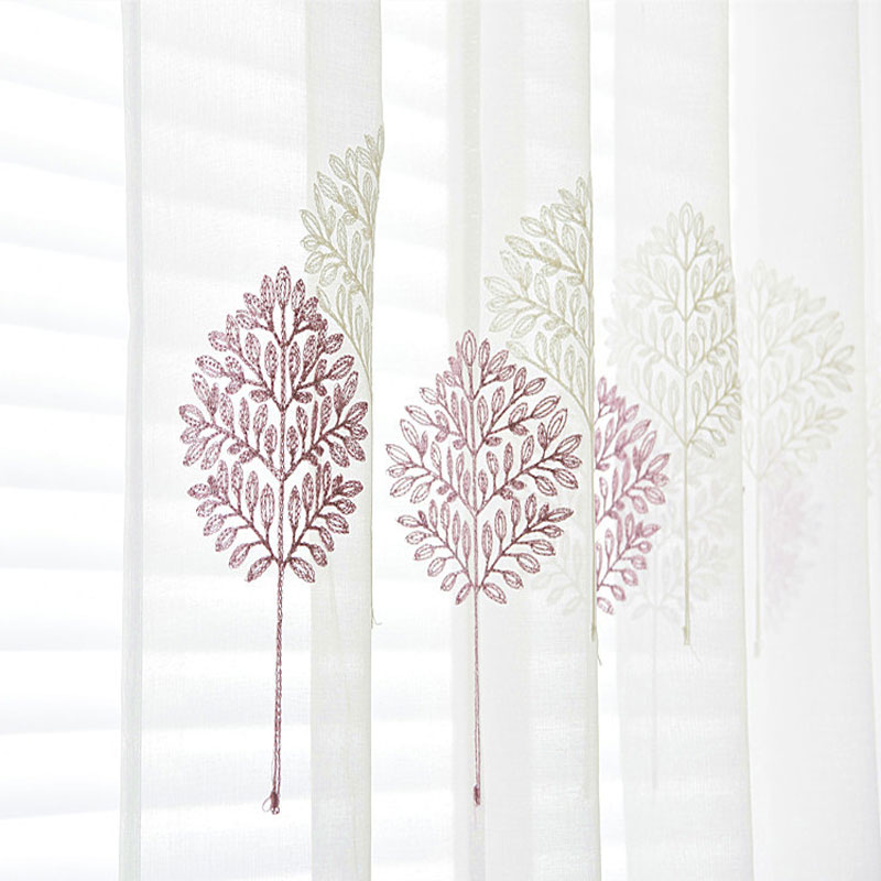 Embroidery Tulle For Windows Country Transparent Sheer